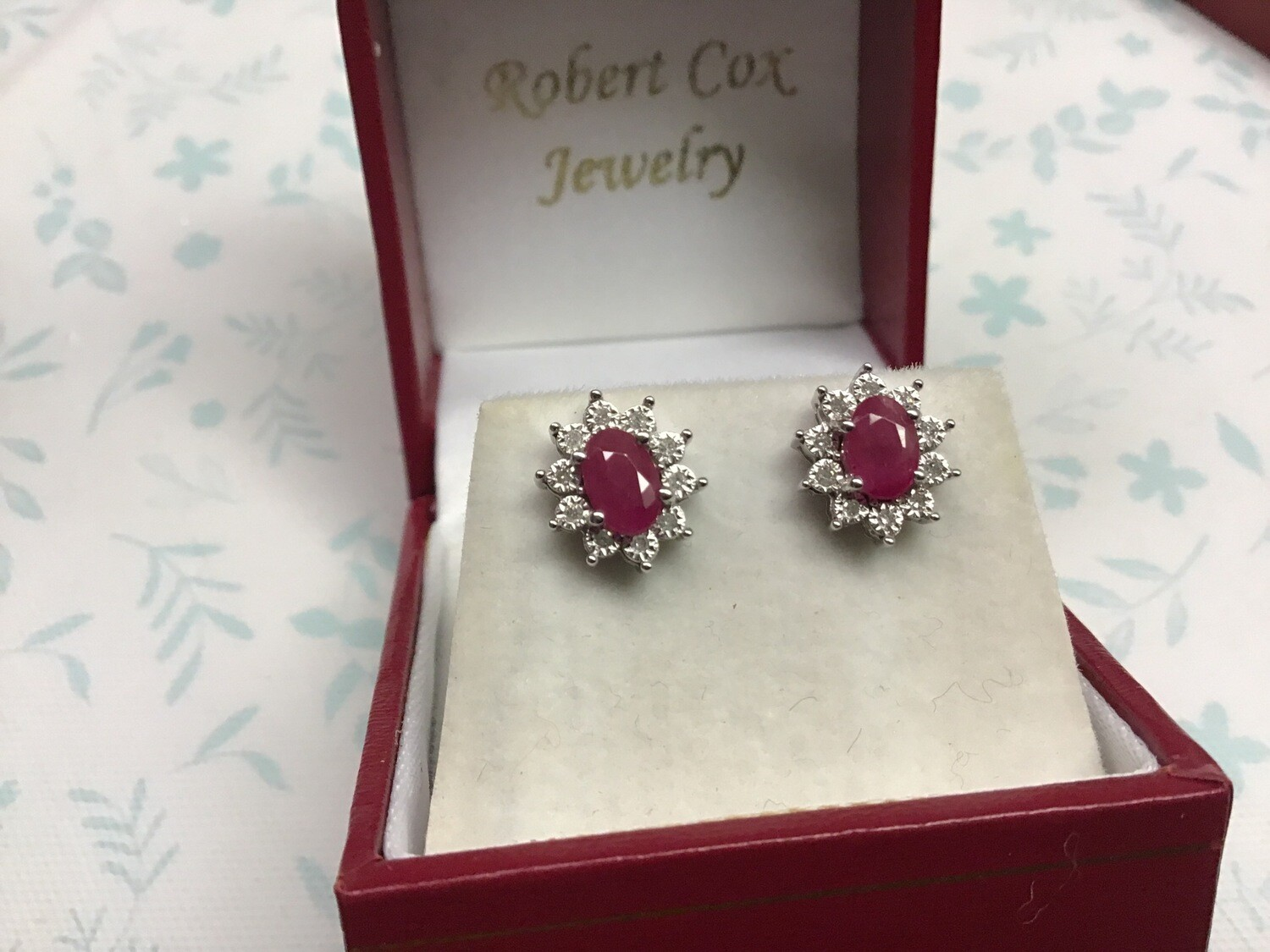 RUBY OVAL HALO EARRINGS