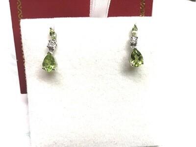 GREEN PERIDOT DROP EARRINGS 10 KT.WHITE GOLD