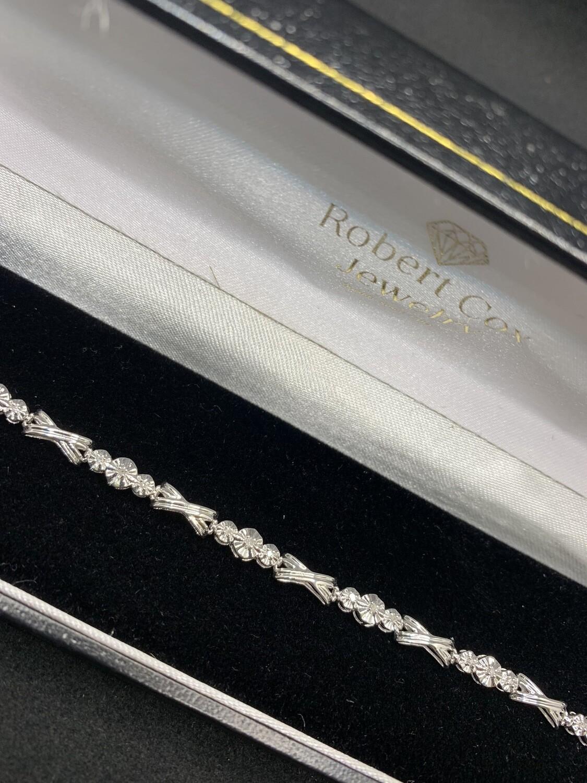 Hugs & Kisses Diamond White Gold Tennis Bracelet