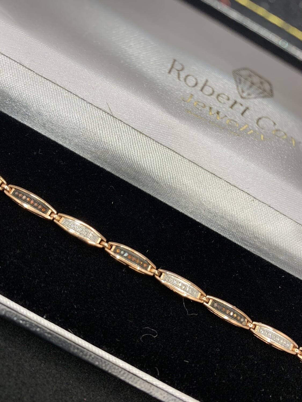 Rose Gold Red & White Diamond Tennis Bracelet