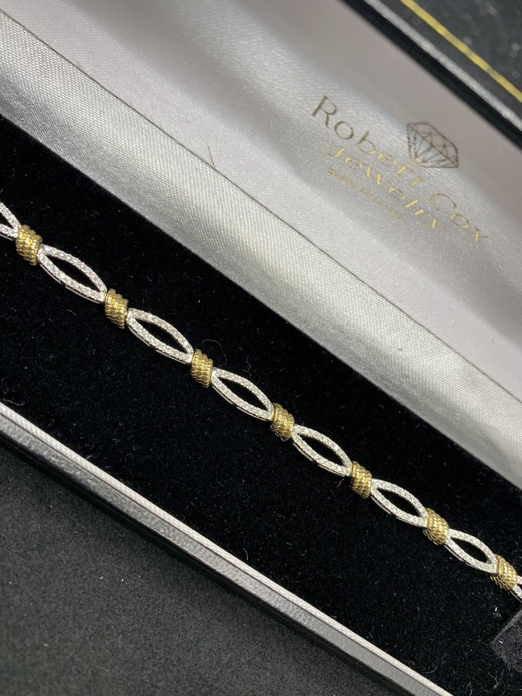 Two Tone Diamond Tennis Bracelet