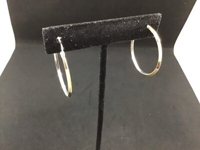 14 KT. 2 TONE WHITE AND YELLOW GOLD HOOPS