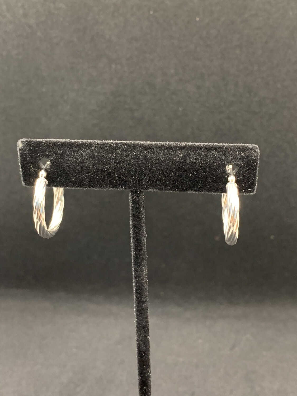 White Gold Twisted Tube Hoops W/ Click Catch