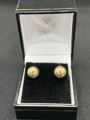 9mm Textured Half Ball Earrings