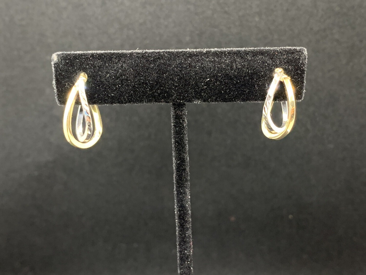 Two Tone Diamond Cut Click Catch Double Hoop