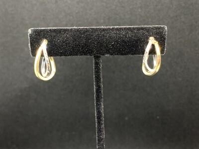 Two Tone Diamond Cut Click Catch Double Hoop