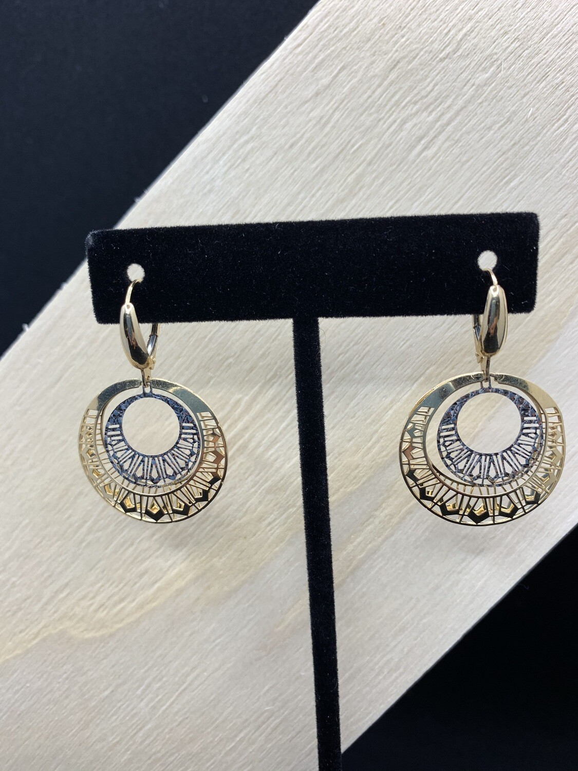 White And Yellow Two Tone Double Dangle 40mm X 25mm 14K Gold