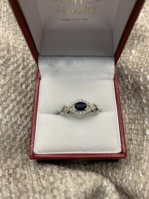 Blue Sapphire Bypass With Diamonds
