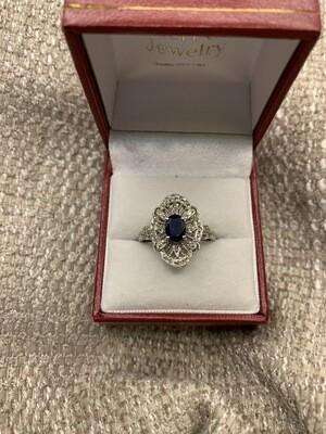 Sapphire Diamond Starburst Filligree