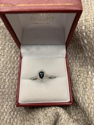 Pear Shaped Sapphire W Diamonds