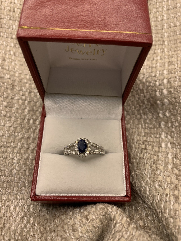 Sapphire And Diamond Split Shank Ring