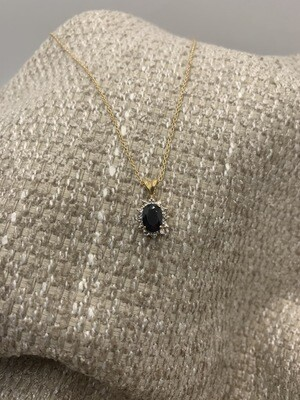 Oval Sapphire With Diamonds Necklace