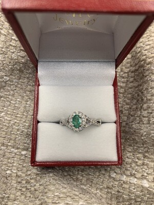 Diamond And Emerald Bypass Ring