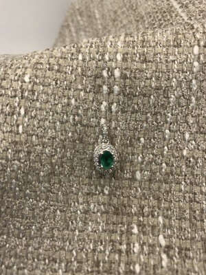 Oval Emerald Diamond Halo Necklace
