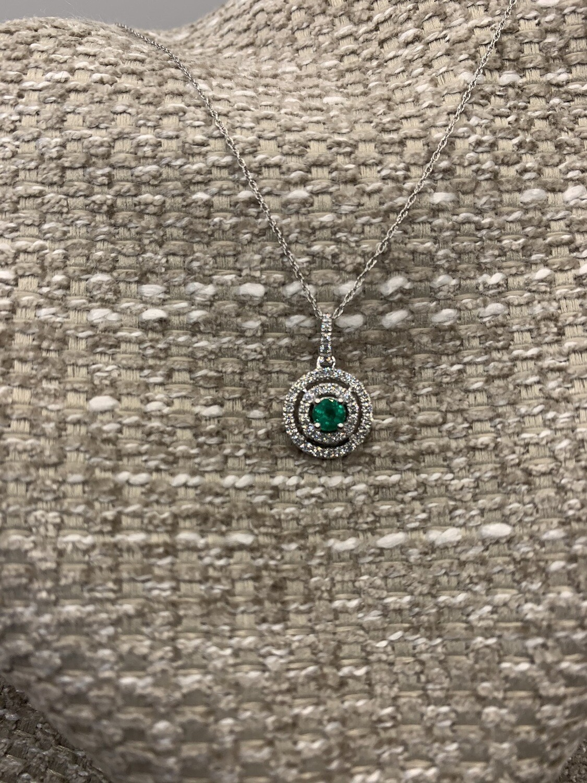 Emerald W Diamond Double Halos Necklace