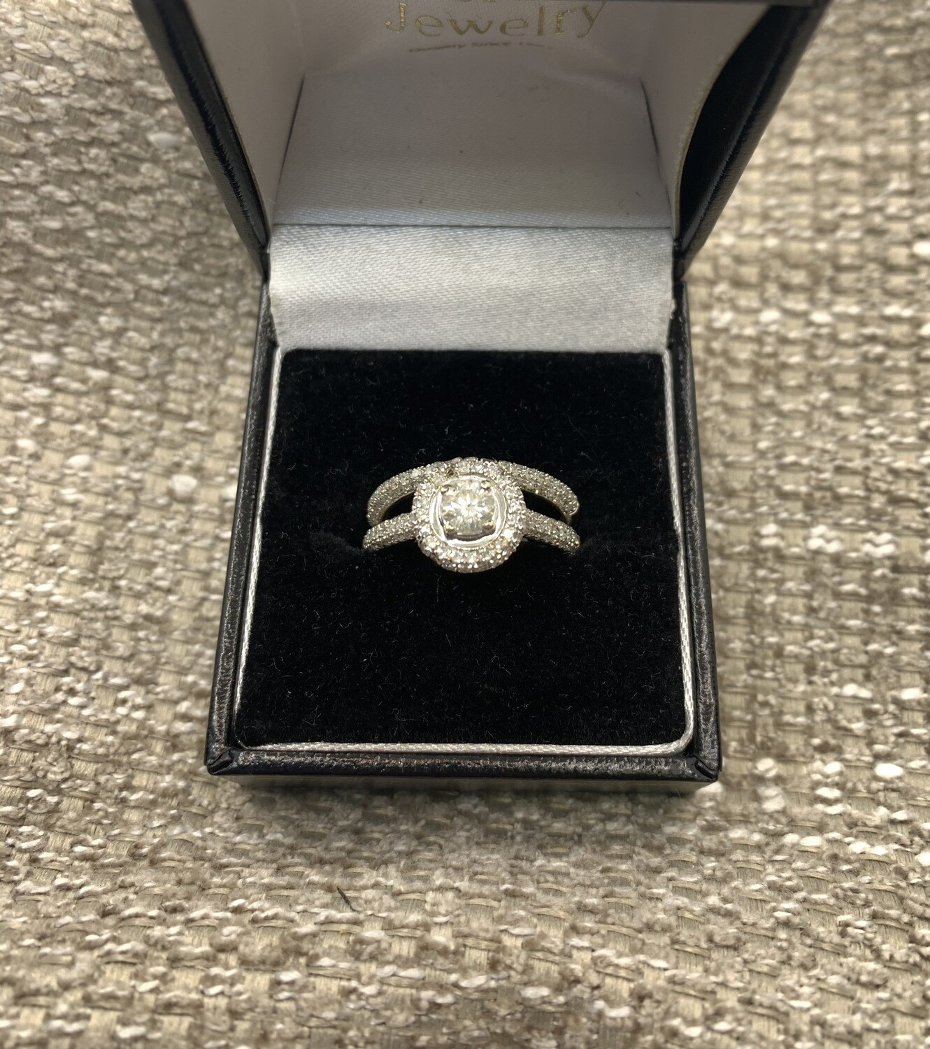 Brilliant Cut Engagement And Wedding Band Set 1.25 ct Total Weight set in 14K White Gold