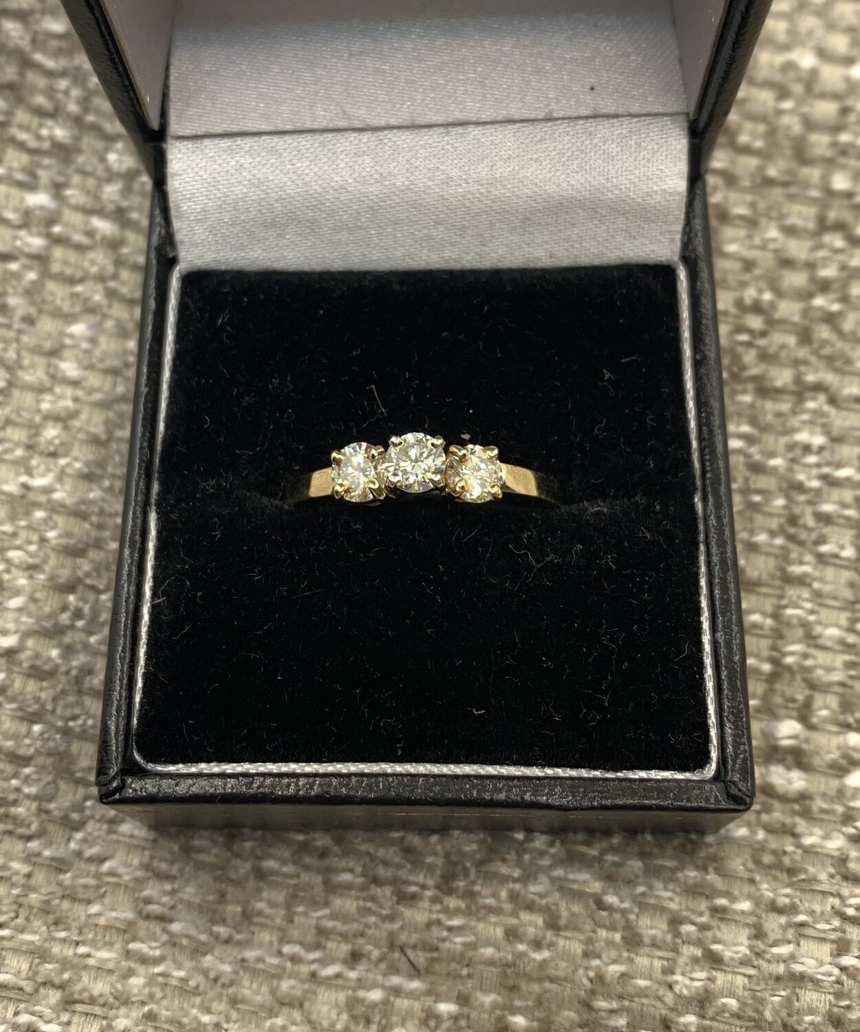 3 Stone Yellow Gold Engagement Or Anniversary Ring