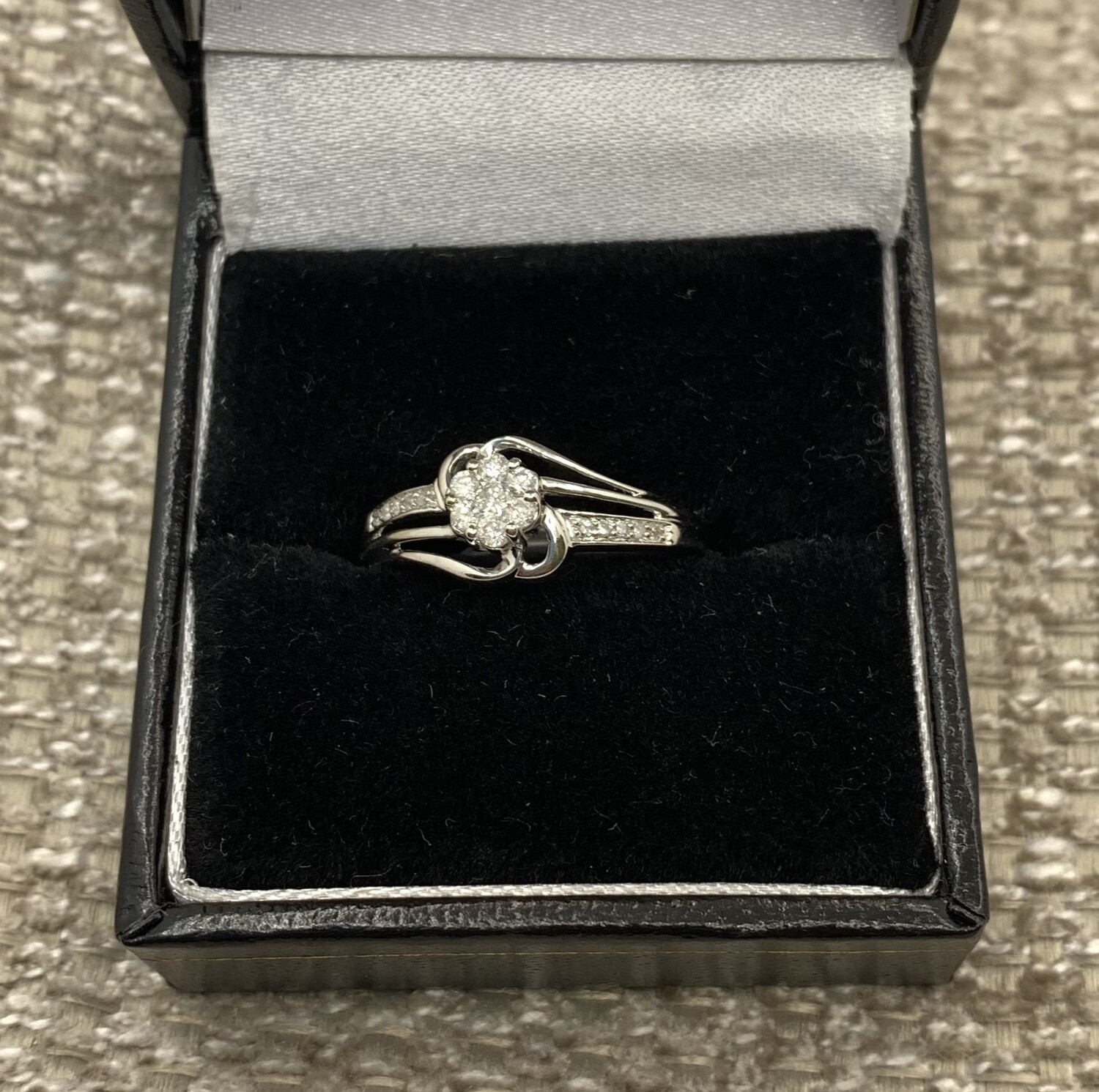 Diamond Cluster Engagement Ring 21 pts  Total Weight set in 10k white gold
