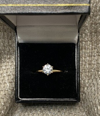 1ct CZ Solitarie Engagement Ring