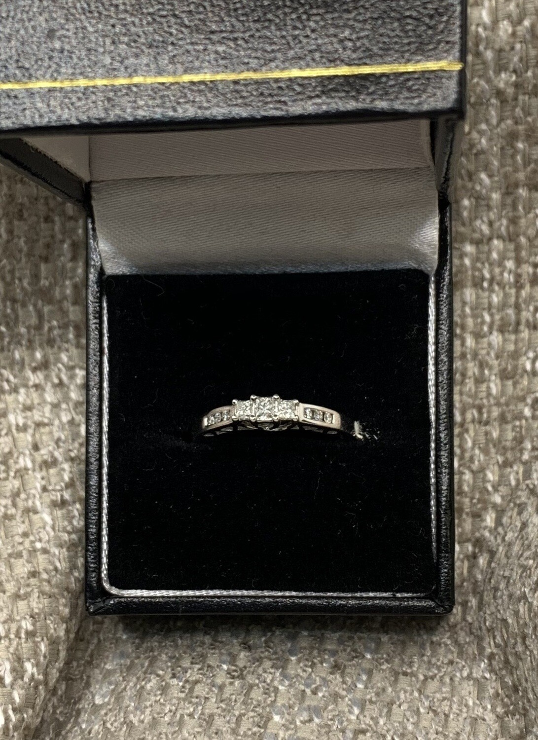 Triple Diamond With Diamond Accent Band Engagement