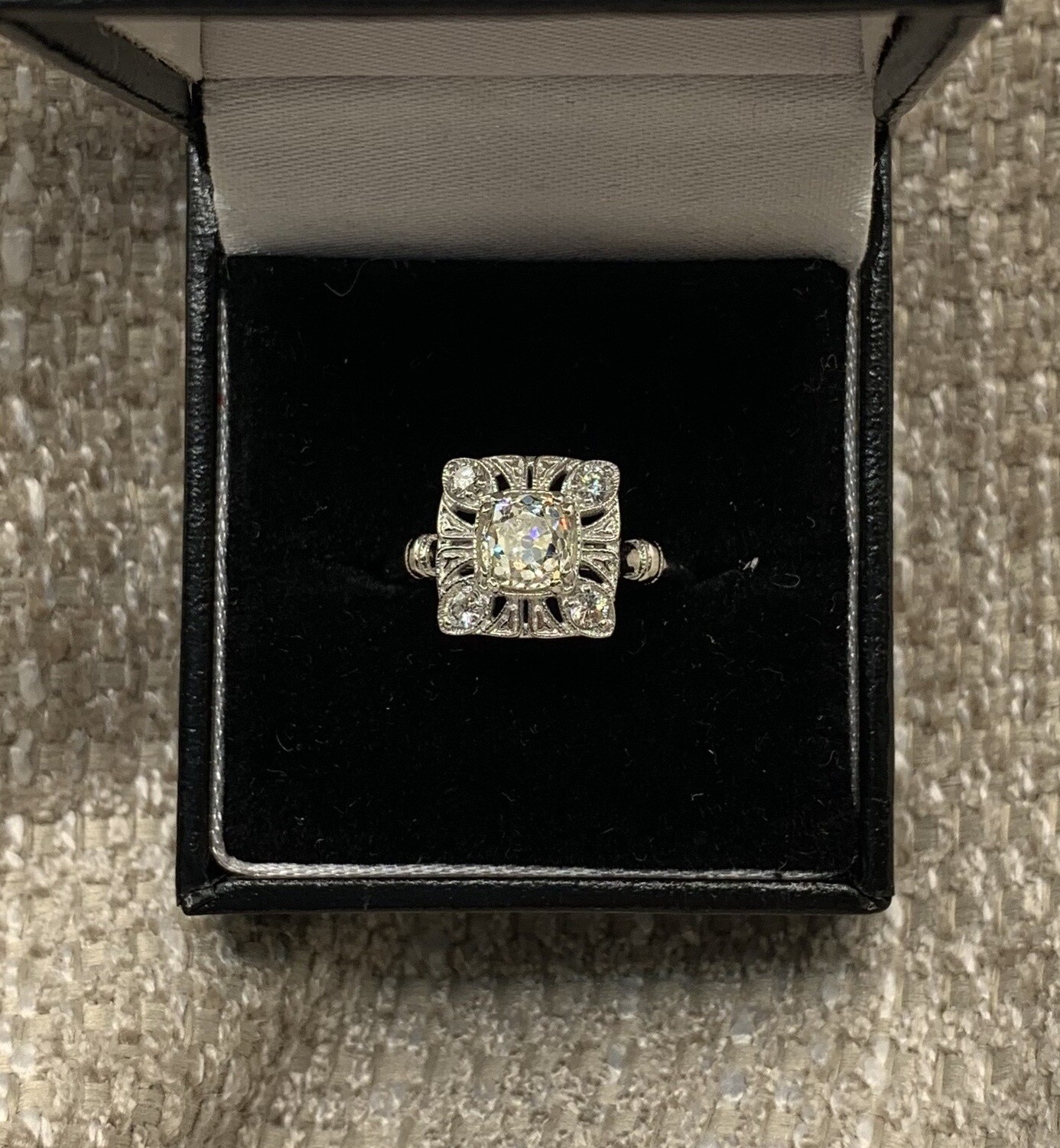 Miners Cut Diamond W/diamond Square Setting