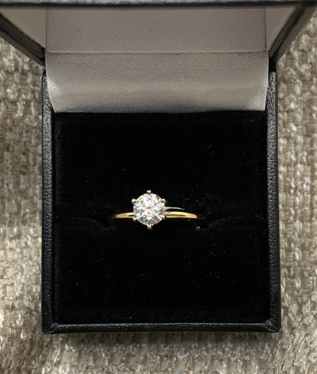 .75 Ct CZ Brilliant Solitaire Yellow Gold Engagement Ring