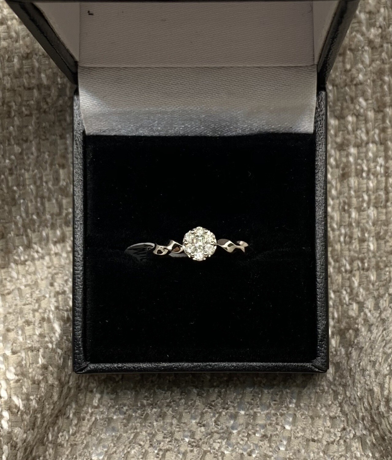 Round Cluster With Twisted Engagement Ring