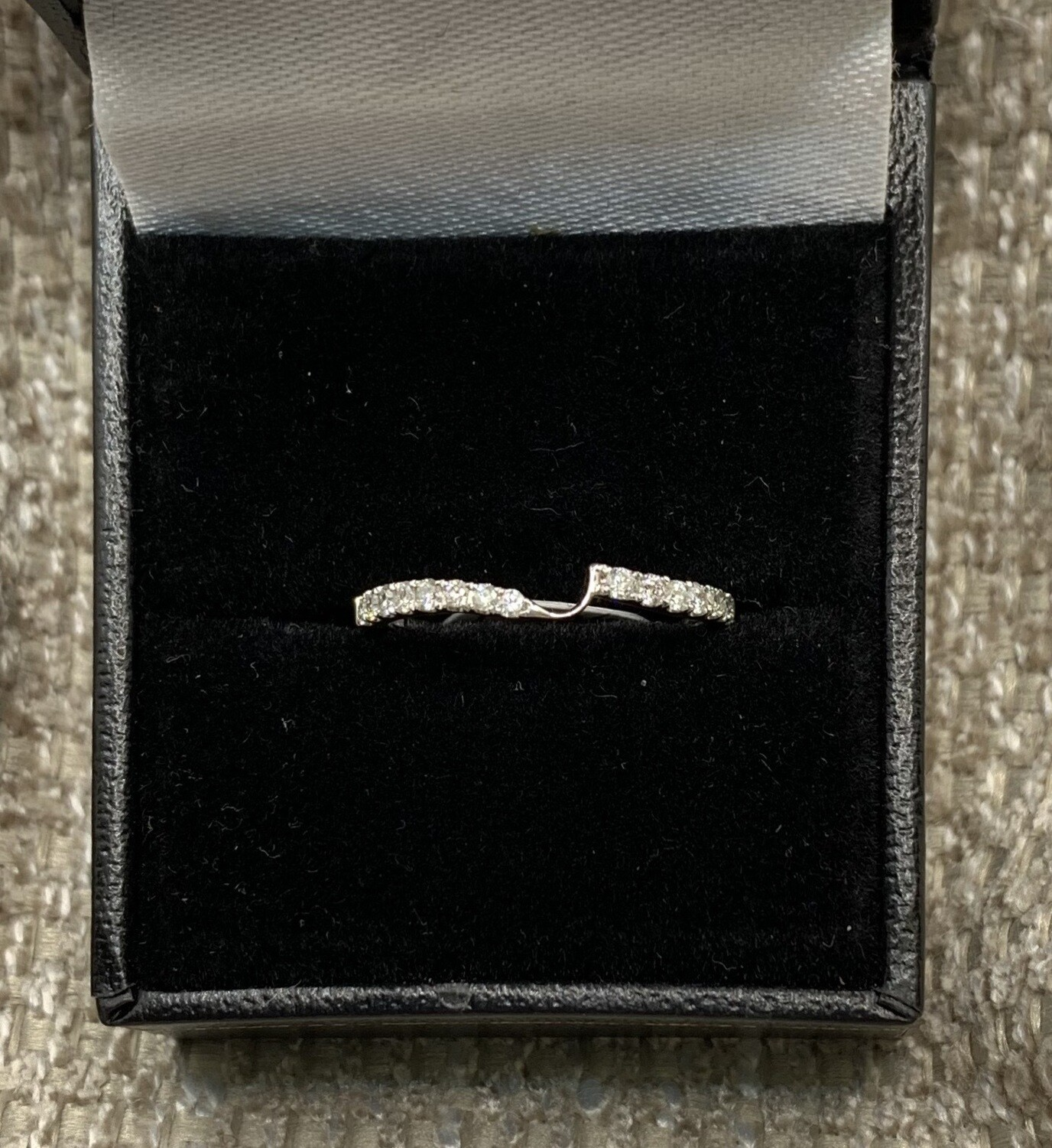 Diamond Notched Wedding Band 25 pts. total weight set in 14K White Gold