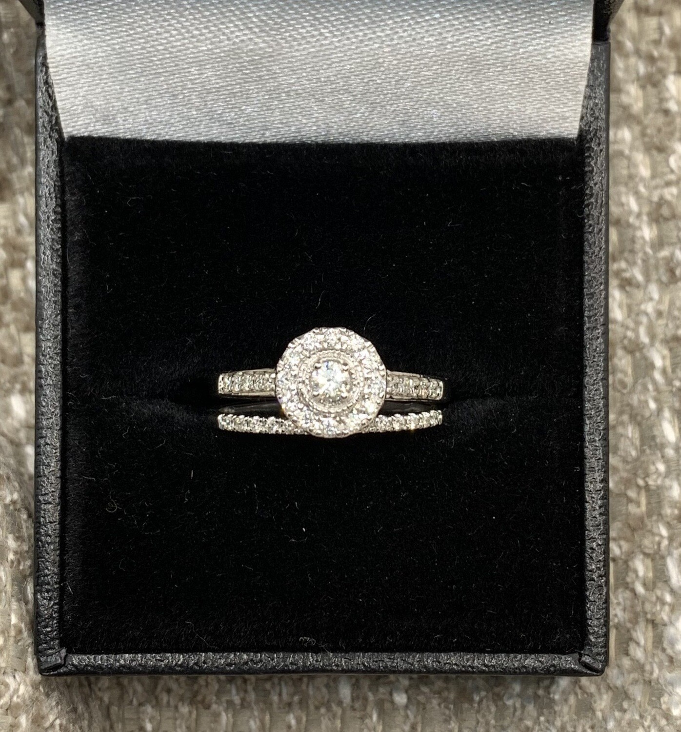 Brilliant With Halo And Diamond Accent Ring Set