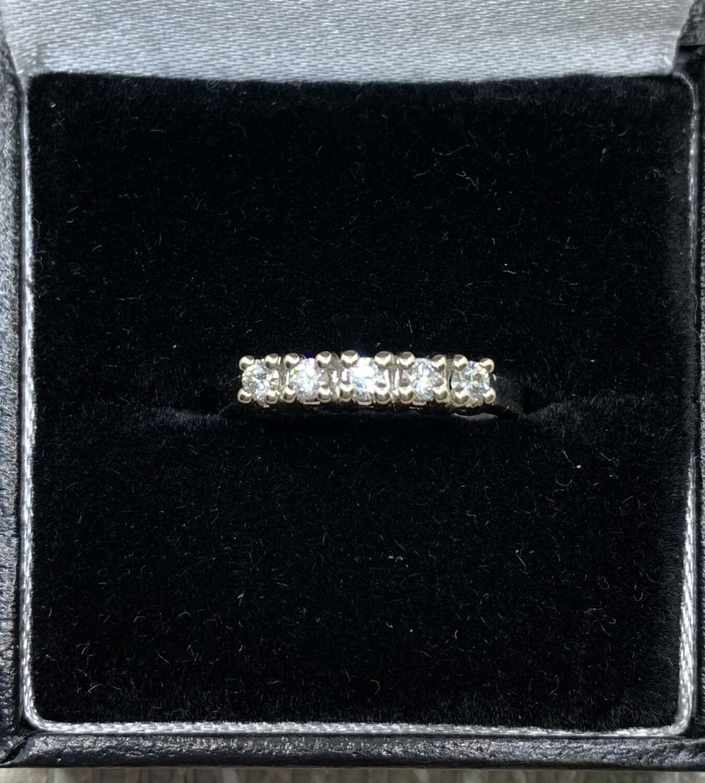 6 Diamond Wedding Anniversary Band 25 pt. Total Weight set in 14K White Gold