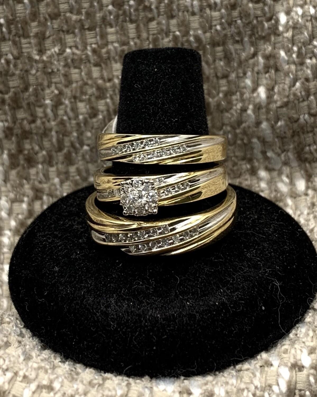 Diamond With Halo Diamond Accent Bridal Trio Set