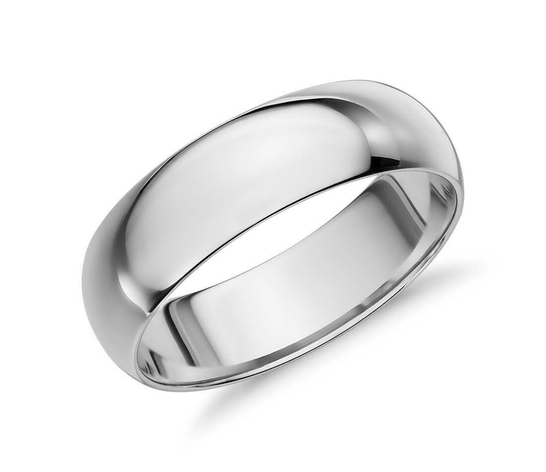 6mm 10k White Gold Band Size 6