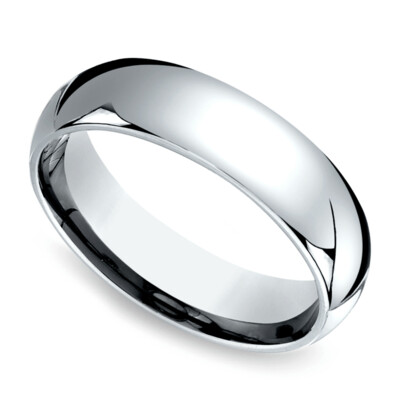 6mm 10k White Gold Band Size 9