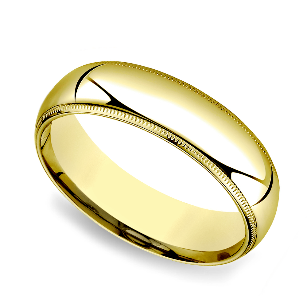 6mm Milgrain 14k Yellow Gold Band Size 6