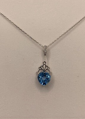 Heart Shaped Light Blue Synthetic Birthstone With Diamond Accents Necklace