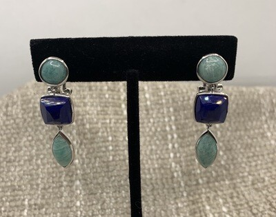 Lapis And Amazonite Cabochon Sterling Earrings With Omega Backs