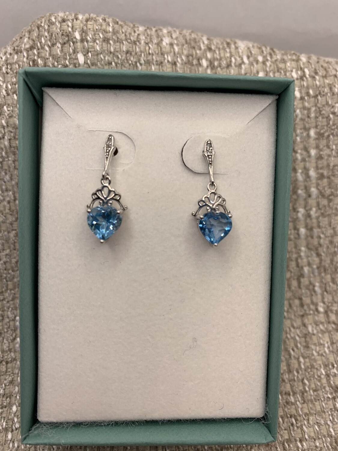 Light Blue Synthetic Birthstone Drop Earrings With Diamond Accents