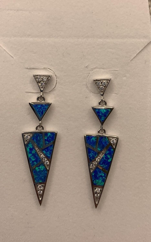Sterling Synthetic Blue Mosaic Dangle Earrings