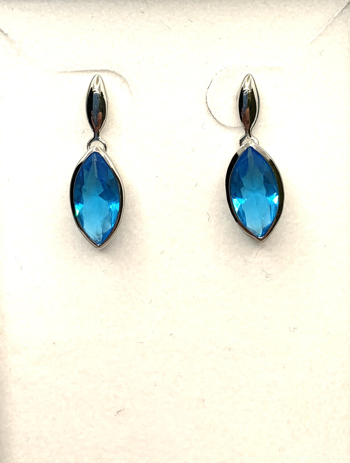 Blue Synthetic Marquis Birthstone Earrings