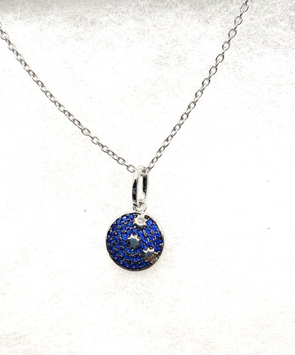 Blue Synthetic Birthstone Galaxy Necklace