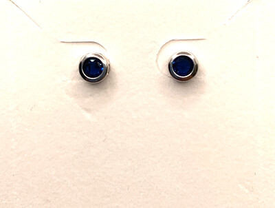 Synthetic Blue Birthstone Studs