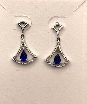 Synthetic Blue Birthstone Drop Earrings Sterling