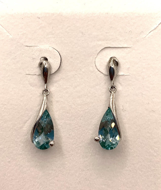 Blue Green Synthetic Birthstone Teardrop Silver Earrings