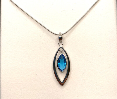 Blue Synthetic Marquis Cut Birthstone Pendant