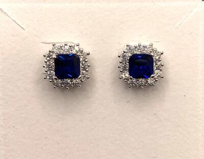 Blue Synthetic Birthstone Halo Earrings