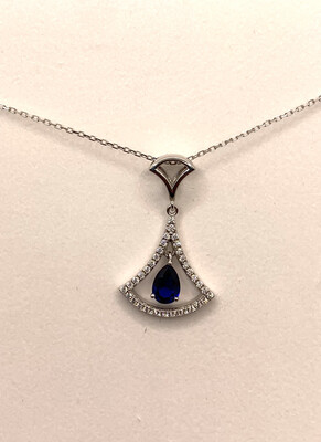 Blue Synthetic Birthstone Pendant