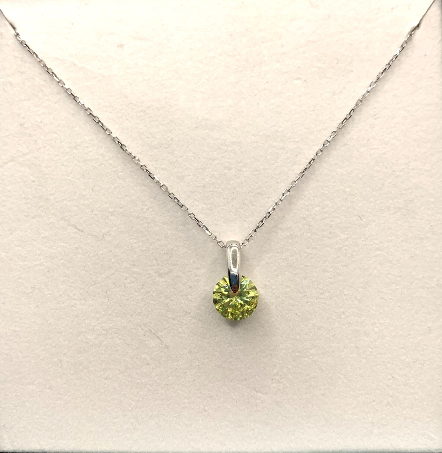 August Peridot Green Synthetic Birthstone Necklace