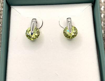 August Peridot Green Synthetic Birthstone Earrings