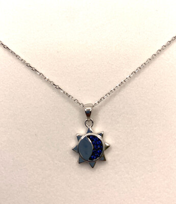 Moon Sun Blue Synthetic Birthstone Necklace