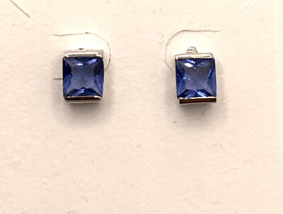 Square Cut Synthetic Birthstone Earrings